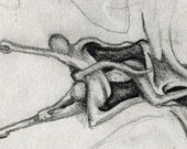 Trading card art ACEO pencil sketch original art black & white figures