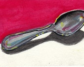 ACEO original watercolor painting of a spoon red and white background