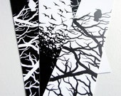 Black and White Crow Bookmarks - Set of 4