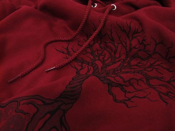 Gear Tree Hoodie - Dark Red - Mens or Womens - Steampunk