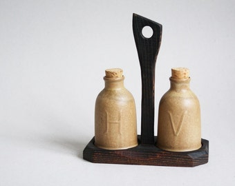 French Oil and Vinegar Cruets  ( H & V ) with Wooden Base - 1970s