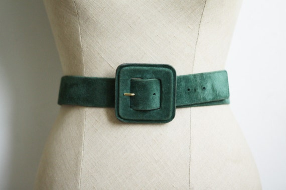 French Suede Belt in Peacock / Emerald / Teal Green - Size Extra Small