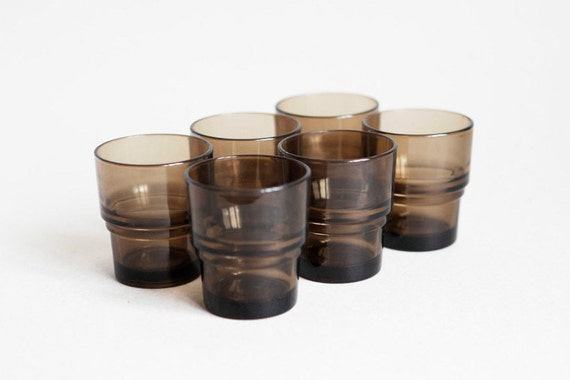 6 French Vereco Stack Cups in Warm Grey