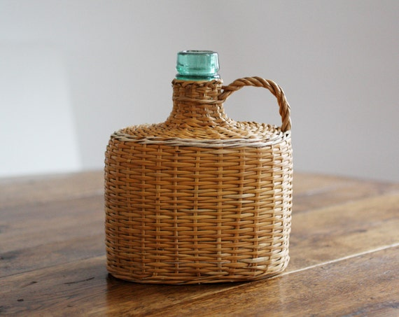 French Demi-john seaglass green bottle wrapped in wicker