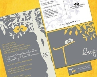 Custom Love Birdies Wedding Invitation Suite with RSVP postcards, Gray and Yellow Wedding Invitations