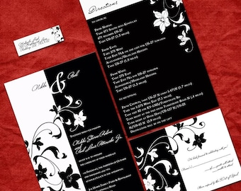 Black and White Modern Wedding Invitation Set