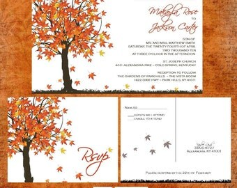Fall Maple Tree Wedding Invitation Sample Packet - Fall In Love