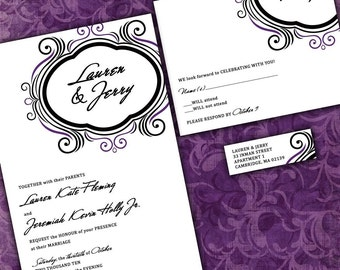 Modern Flourish Custom Wedding Invitation Suite with RSVP cards and address labels