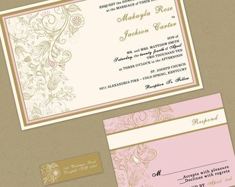 Wedding Invitation -Romantic Pink and Gold- Sample Packet