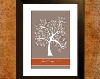 Custom Wedding Guest Book Fingerprint Tree - Rich Autumn - 150-400 Prints  - With Instructions