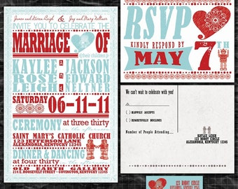 Robot Wedding Invitation, Aqua Blue and Red Invites, Sample Packet
