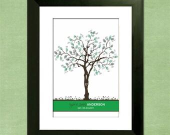 "Summer Wedding Thumbprint Tree Guest Book Alternative - Summer Splendor Custom 24"" x 36"" Wedding Tree"