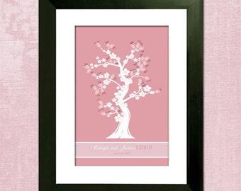 "Wedding Tree Guest Book Alternative - Oriental Cherry Blossom Custom 16"" x 24"" Wedding Tree - With  5 x 7 Instructions"