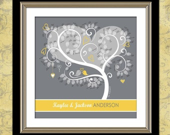 "Personalized Tweet Tweet Love Birdies 20"" x 20""  Wedding Tree - Thumbprint Wedding Tree Guest Book Alternative"