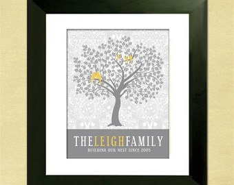 Personalized Family Tree - Custom Art Print - Christmas Gift for Mom - Gray and Yellow Home Decor