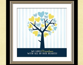 Personalized Family Tree Wall Art, Custom Art Print, Personalized Christmas Gift for Grandma, Gift from Grandchildren, Cyber Monday Sale