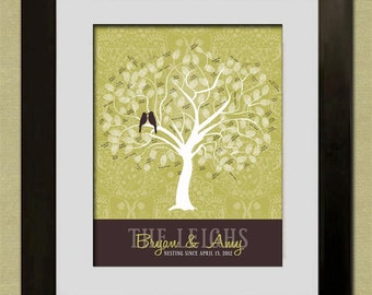 Wedding Guest Book Fingerprint Tree - Custom Sage Tree - PDF - DIY Wedding