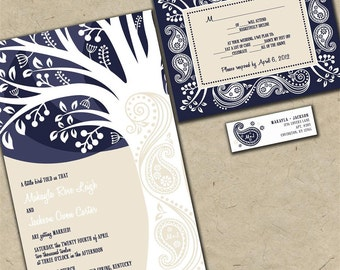 Custom Wedding Invitations - Paisley Tree - Navy Blue and Tan Budget Invites - Sample Packet