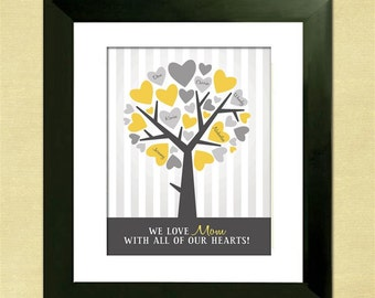 Personalized Gray and Yellow Family Tree, Custom Art Print,  Mother's Day Gift, Anniversary or Housewarming Gift, Cyber Monday Sale