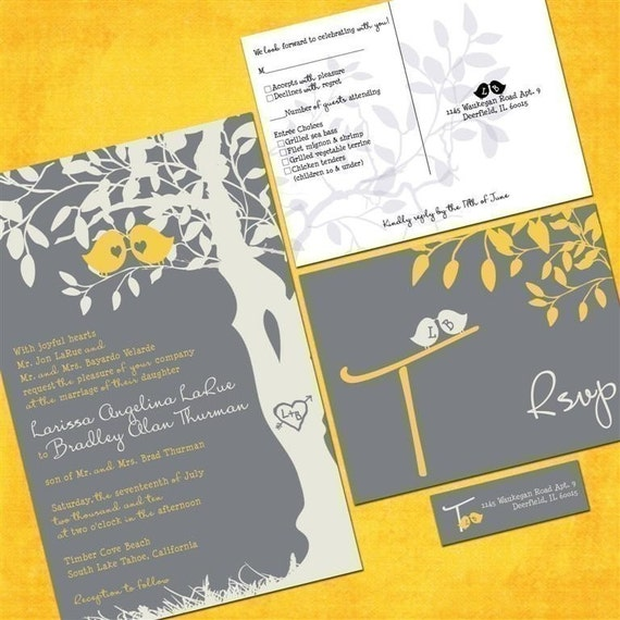 yellow and gray wedding invitations love birds in a tree, Wedding invitations