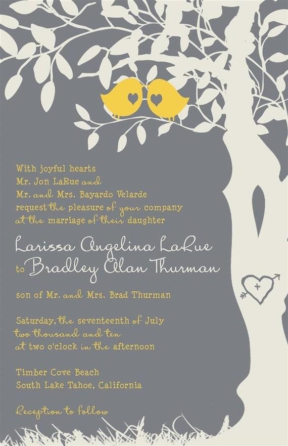 yellow and gray wedding invitations love birds in a tree, Wedding invitations