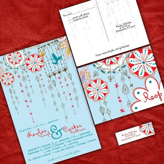 Custom Wedding Invitations -Fun Blue and Red Love Birds-  Festive Birdies Wedding Invitation Suite with RSVP postcards and address labels