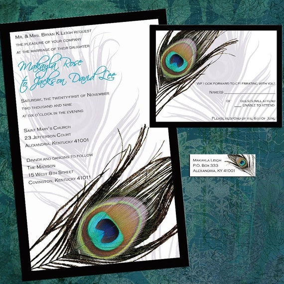 Peacock Wedding Invitations, Wedding Invitation Suite with RSVP cards and address labels, Peacock Feather