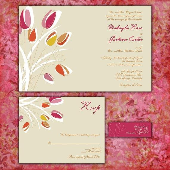 Modern Tulips Custom Wedding Invitation Suite With RSVP Cards