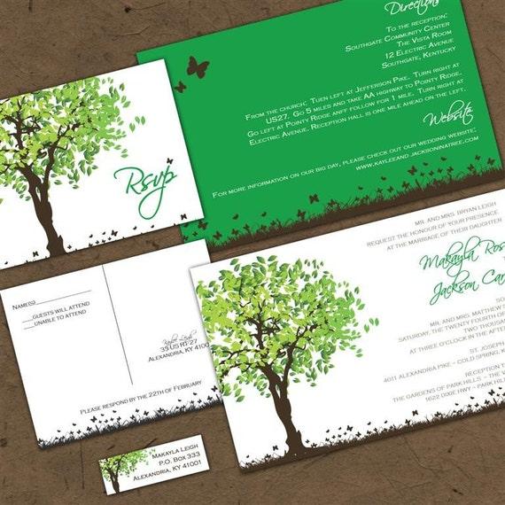 Summer Splendor Custom Wedding Invitation Suite with RSVP postcards and address labels