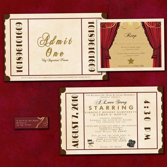 Theatre Ticket Wedding Invitation Suite Old Hollywood