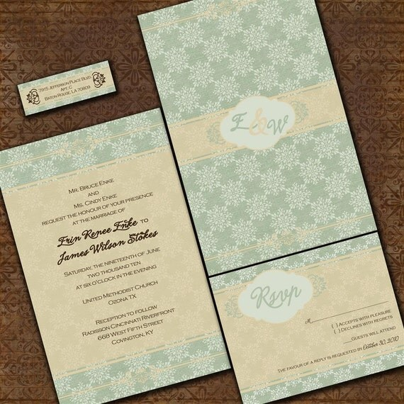 Custom Wedding Invitation Set - Tuscany in Green Custom Wedding Invitation Suite with RSVP cards and address labels