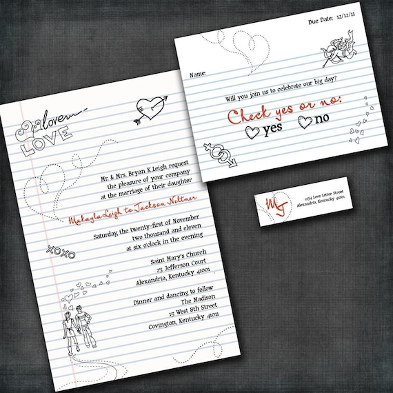 Custom Wedding invitationCheck Yes Or No Suite with RSVP cards and ...