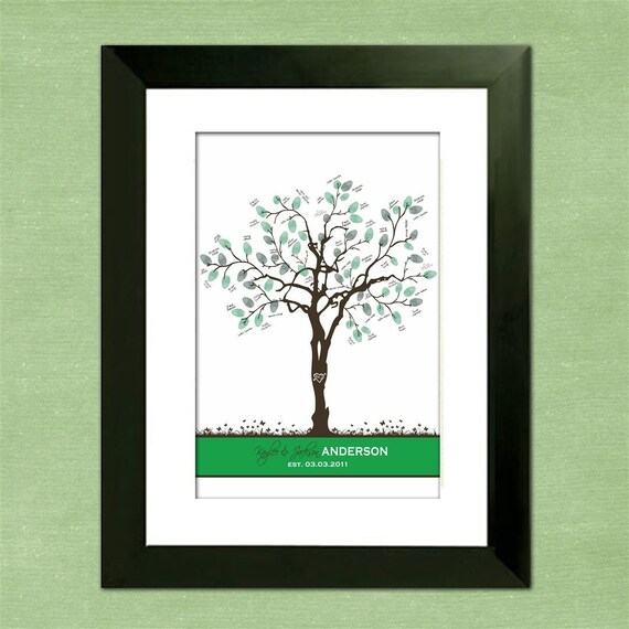 Personalized Thumbprint Tree Wedding Guest Book Alternative: Summer Wedding Thumbprint Tree Guest Book Alternative Summer