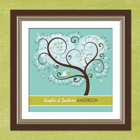 "Thumbprint Tree Guest Book - Personalized Tweet Tweet Love Birdies 20"" x 20""  Wedding Tree - Green and Blue"