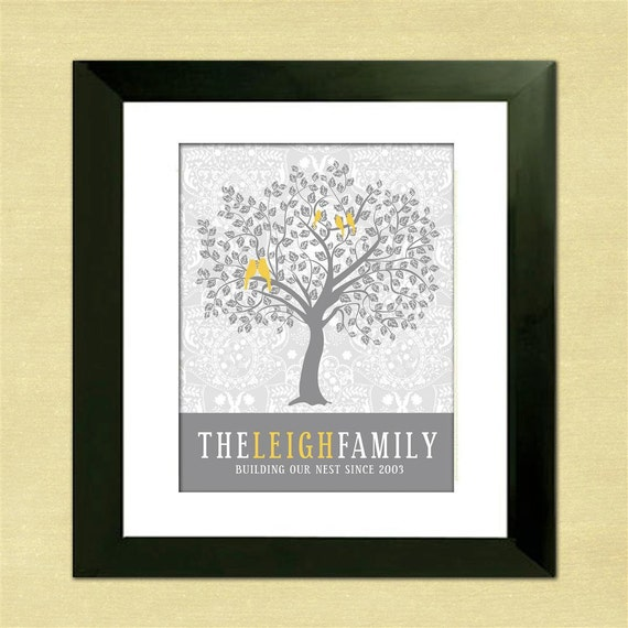Mother's Day Gift, Personalized Family Tree, Custom Art Print, Gray and Yellow Home Decor, For Mom, For Grandma, Love Birds