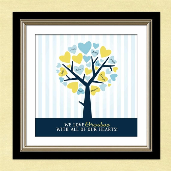 Personalized Family Tree - Custom Art Print -  Mother's Day Gift - Anniversary Gift - Grandmother's Gift - Heart Tree with Names
