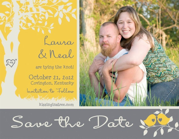 Custom Love Birdies Photo Save the Date Card or Postcard