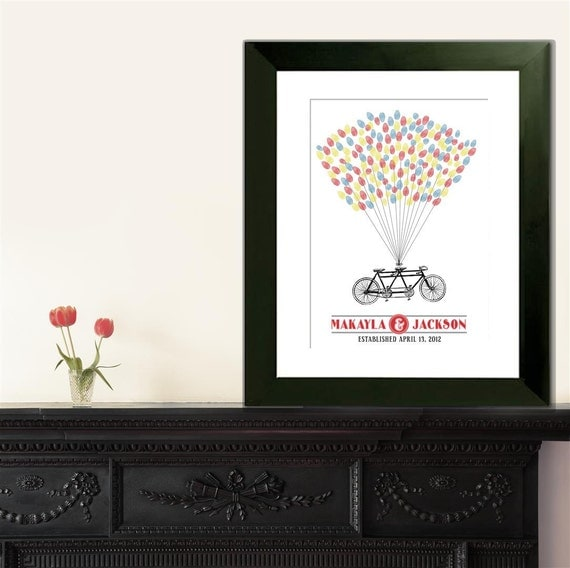 Personalized Wedding Guest Book Thumbprint Poster - Tandem Bicycle - 75-200 Guests