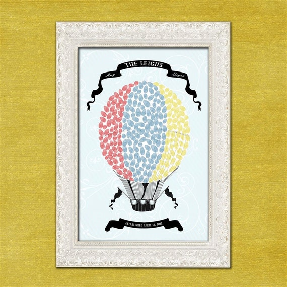 Personalized Wedding Guest Book Thumbprint Poster - Hot Air Balloon - 75-150 Guests