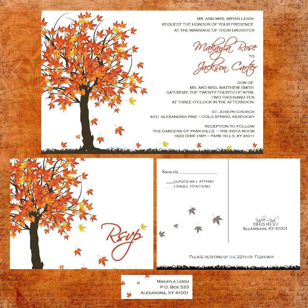 Fall Color Wedding Invitations: Fall Maple Tree Wedding Invitation Sample Packet Fall In
