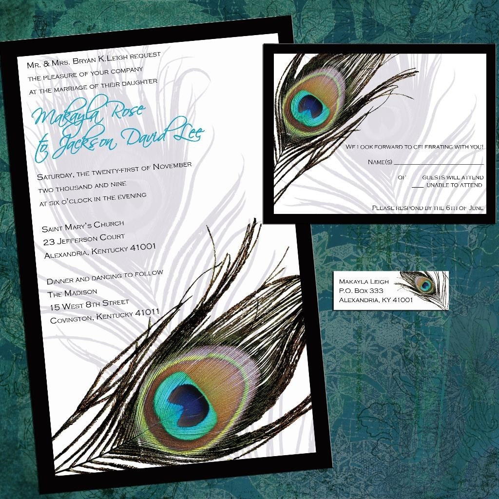 Peacock feather invitation template - photo#19