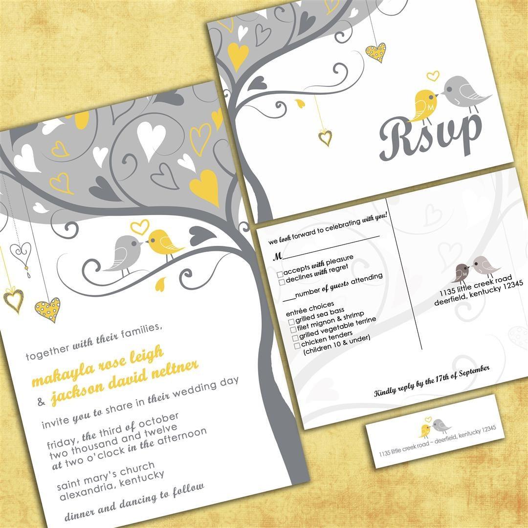 Custom Wedding Invitations: Custom Wedding Invitations Gray And Yellow Lovebirds Tweet