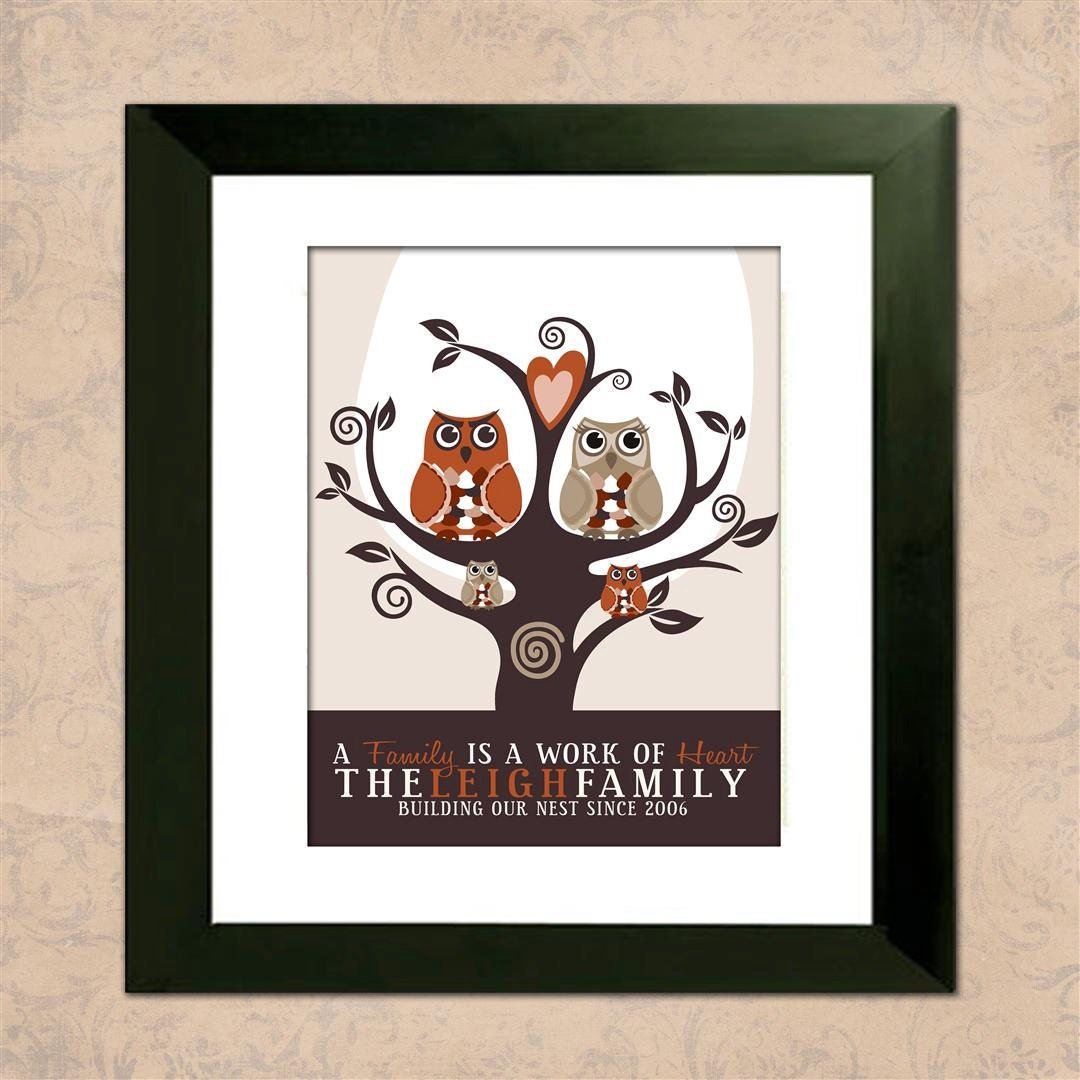 owl tree family tree with owls custom wall art personalized. Black Bedroom Furniture Sets. Home Design Ideas
