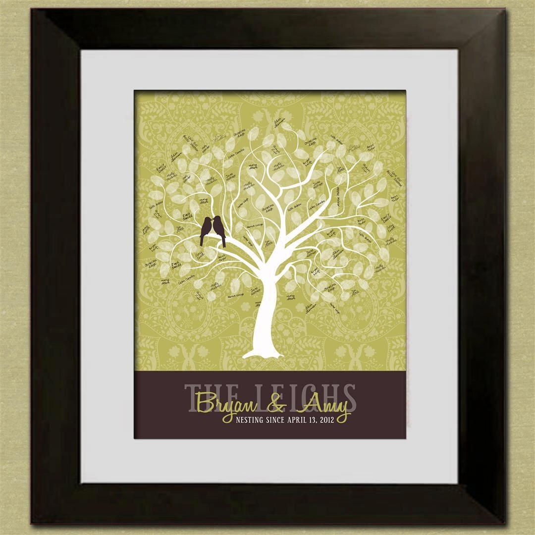 Wedding Tree Fingerprint Tree Thumb Print Guest Book: Sale Wedding Guest Book Fingerprint Tree Personalized Sage