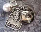"Personalized Sterling Silver Simple "" Wax Seal"" Family Necklace"