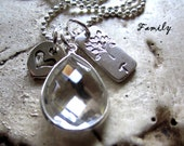 Personalized Sterling Silver Hand Stamped  Family Tree Initial Necklace