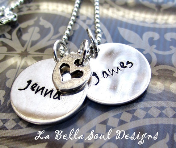 Personalized Sterling Silver Hand Stamped Just The Two of Us Heart  Necklace