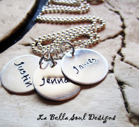 Personalized Sterling Silver Hand Stamped Mother's  Necklace