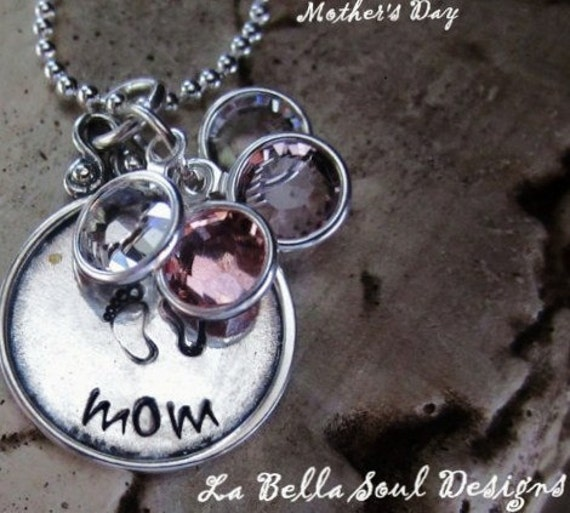 Personalized Handstamped Sterling Silver Mothers Day  Necklace, Grandma Necklace, Family Necklace