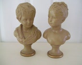 Vintage Borghese Plaster Bust Boy And Girl
